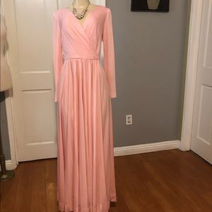 70's VINTAGE Maxi Wrapping Neck Smock Dress